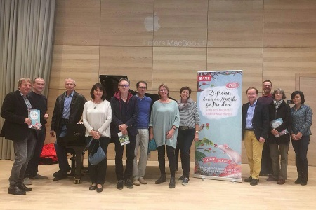 "Presentation of the AME Book ""Zeitreise durch die Musik"" at the FAZIOLI piano Center in Wels."